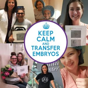 "Smiling surrogate mothers with the phrase ""Keep calm and transfer embryos"" in the center."