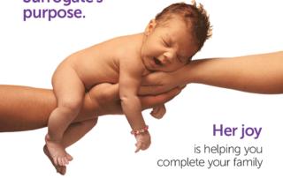 Baby in hands. Surrogates purpose