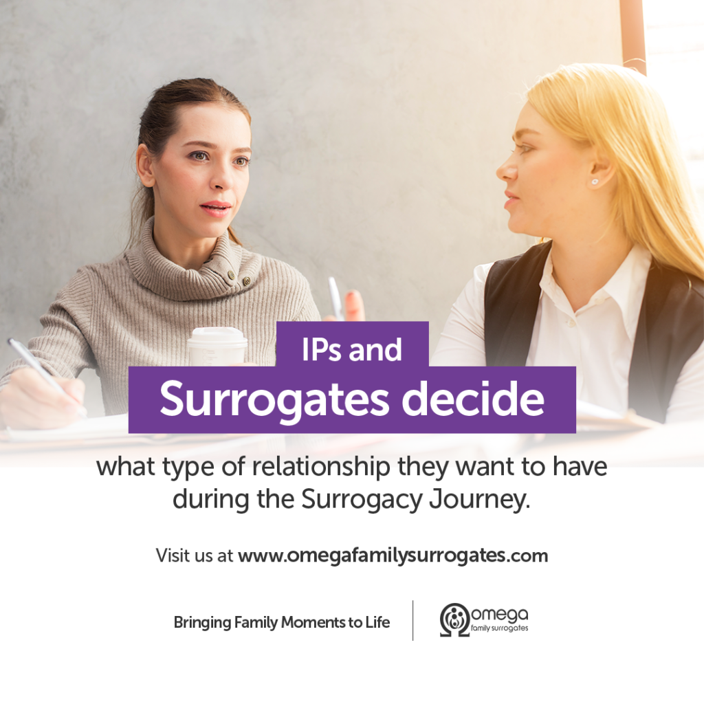 """Two women talking with the text """"IPs and surrogates decide what type of relationship they want to have during the Surrogacy Journey."""""""