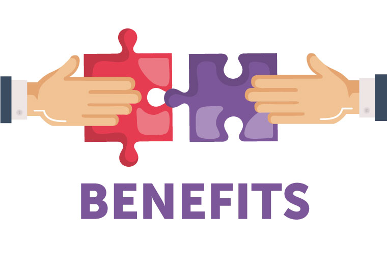 "Two hands putting puzzle pieces together with the text ""Benefits"" underneath."